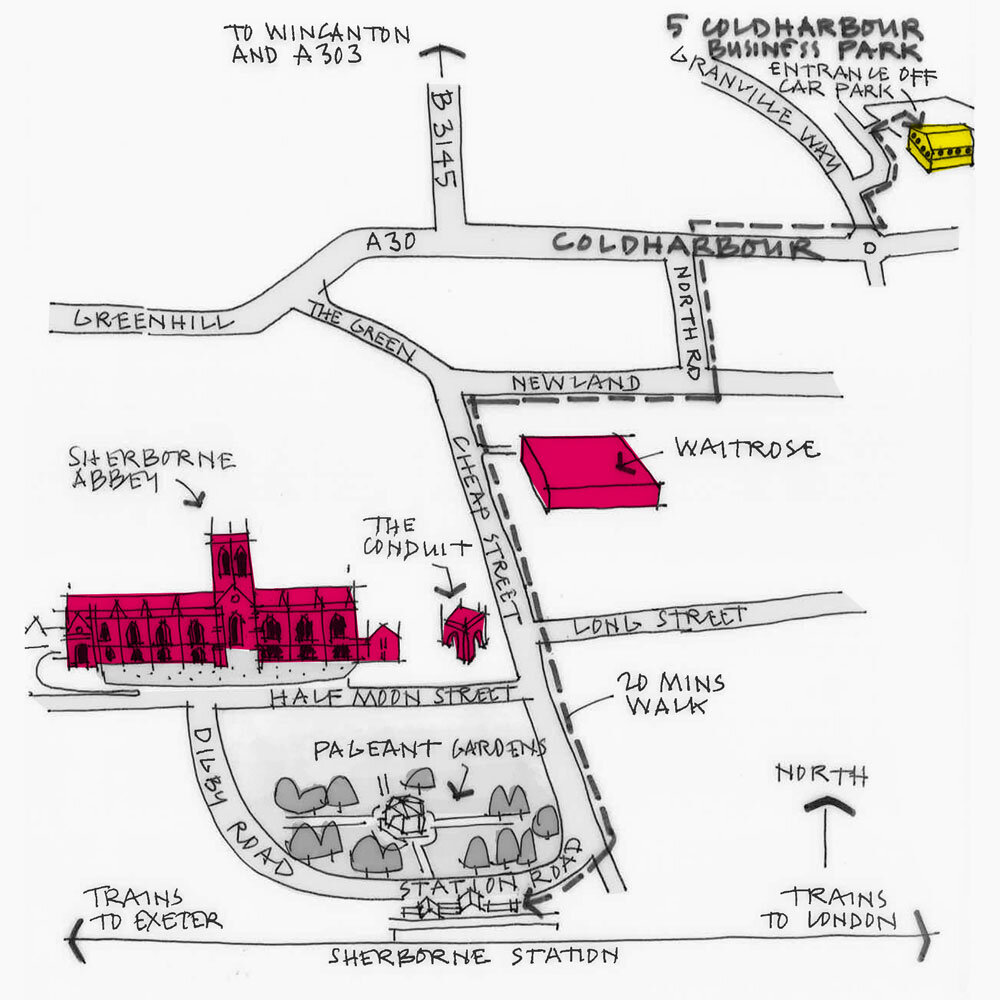 Sherborne Studio Sketch Map
