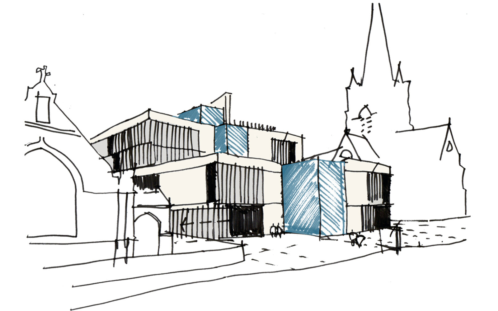 The Laidlaw Library exterior sketch