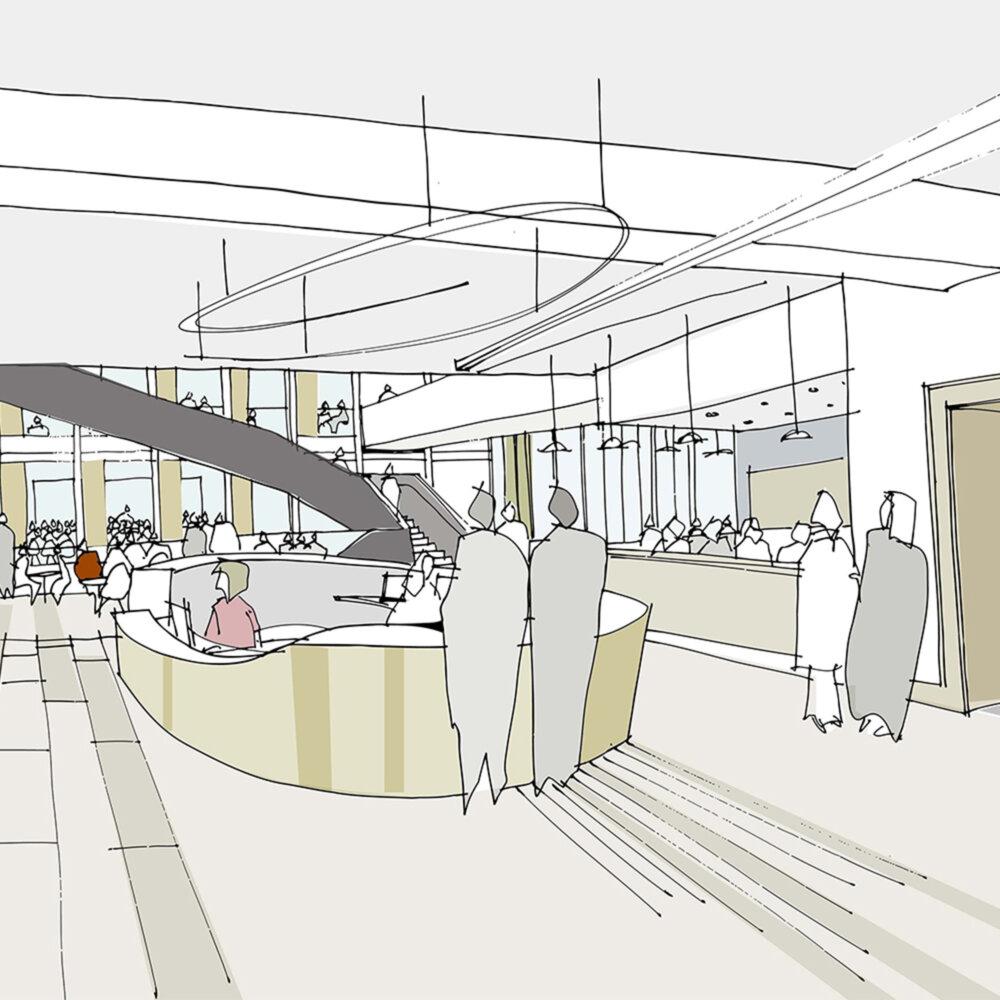 Sir William Henry Bragg Building interior sketch