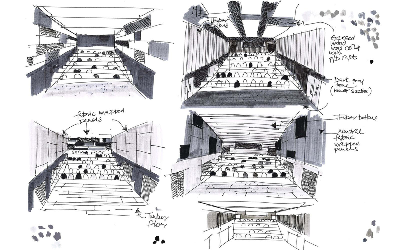 Heriot-Watt University James Watt Centre lecture theatre concept sketches