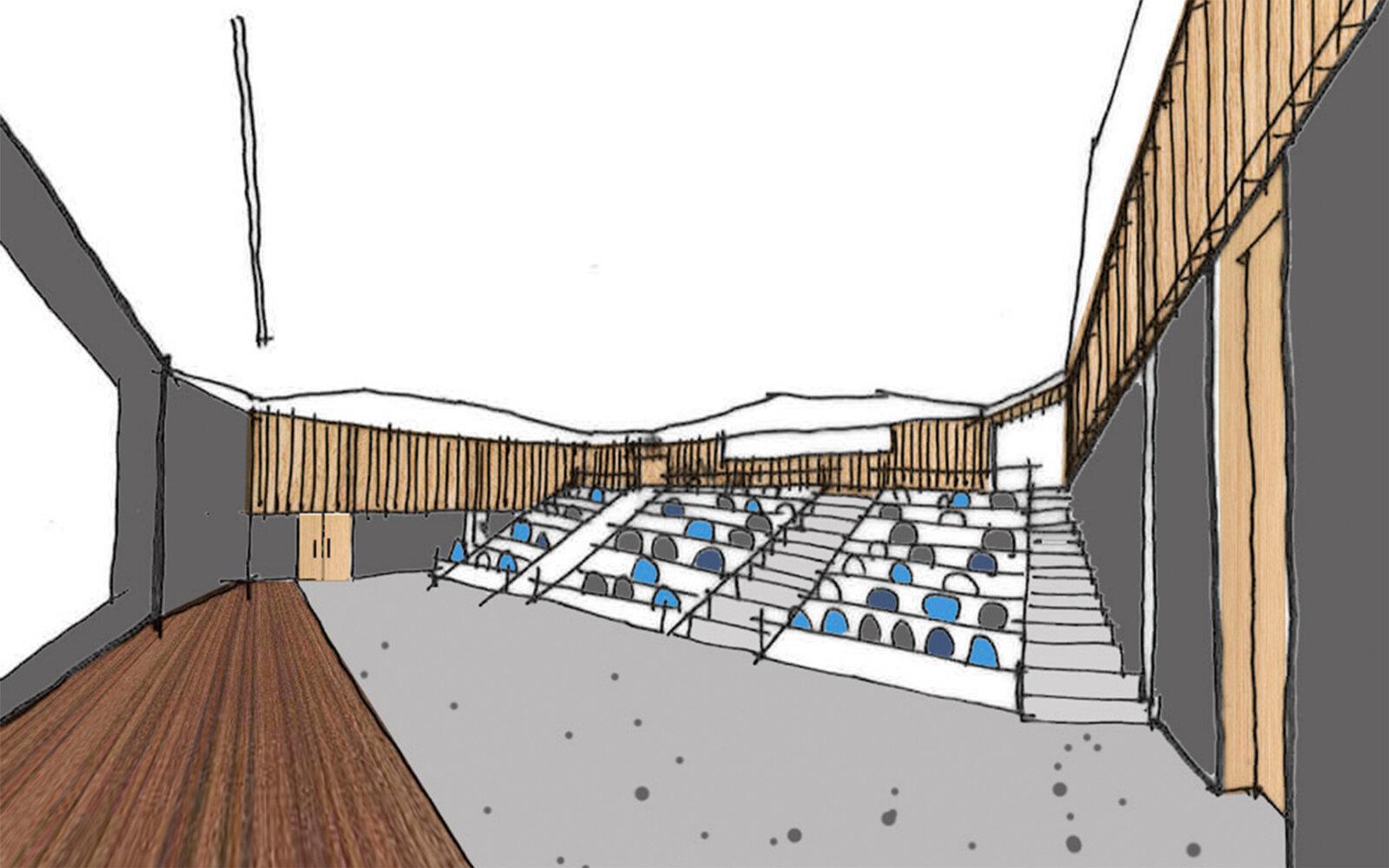 Heriot-Watt University James Watt Centre lecture theatre sketch