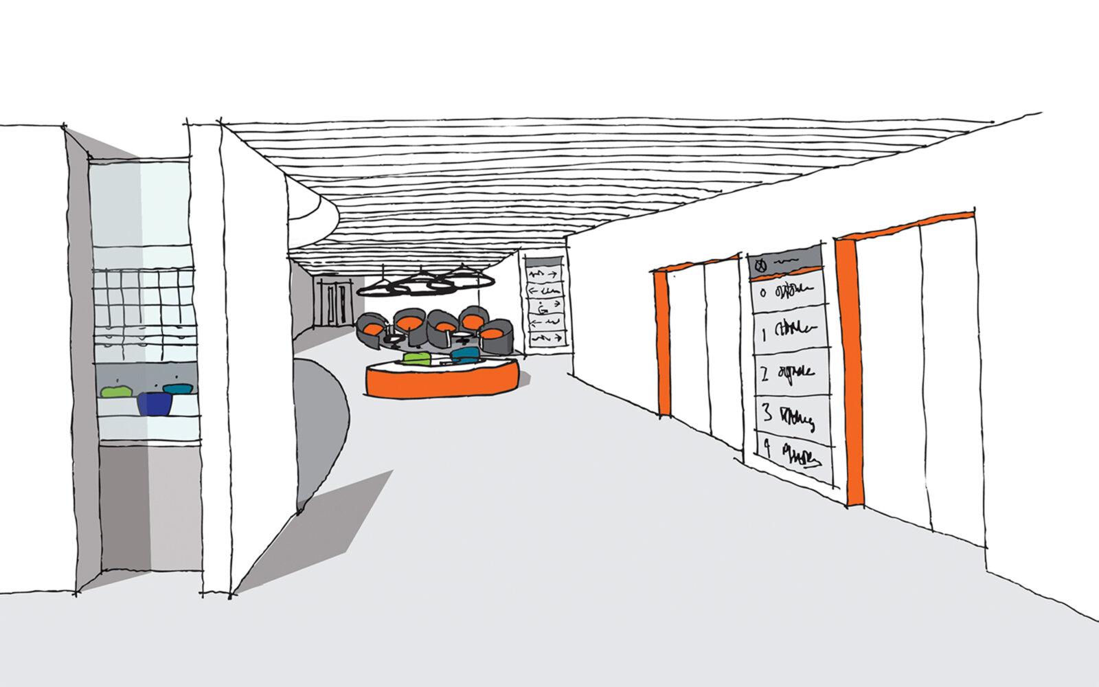 Joseph Priestley East Building University of Huddersfield internal sketch