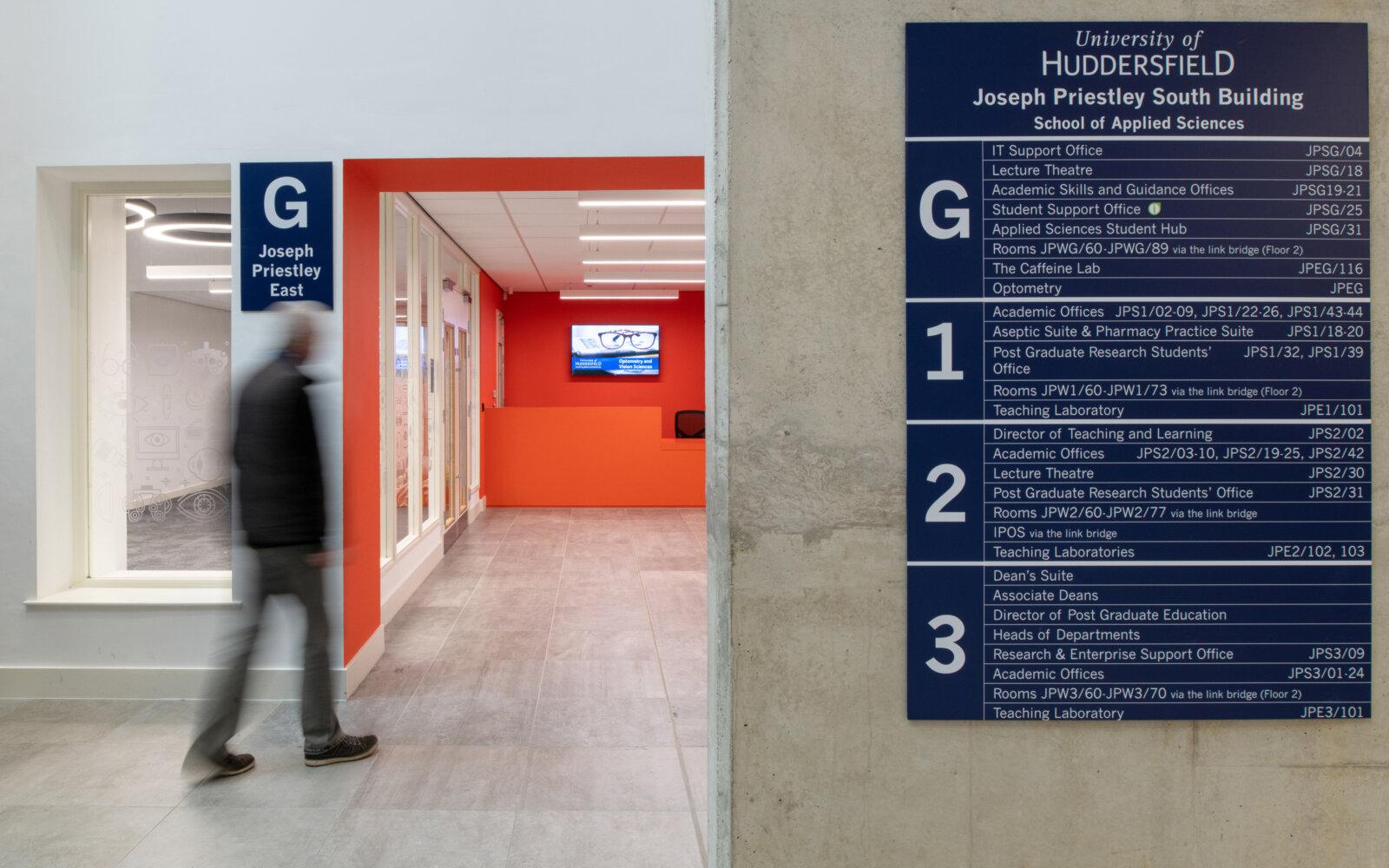 Joseph Priestley East Building University of Huddersfield interior walkway