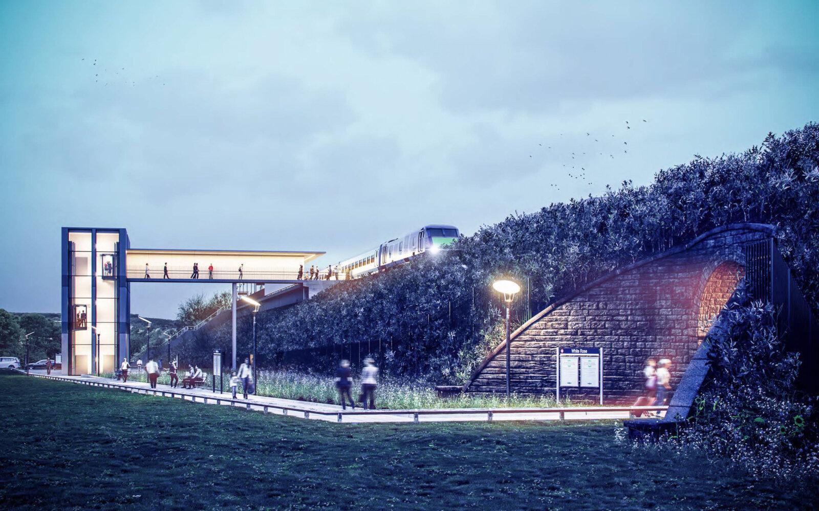White Rose Rail Station at night CGI