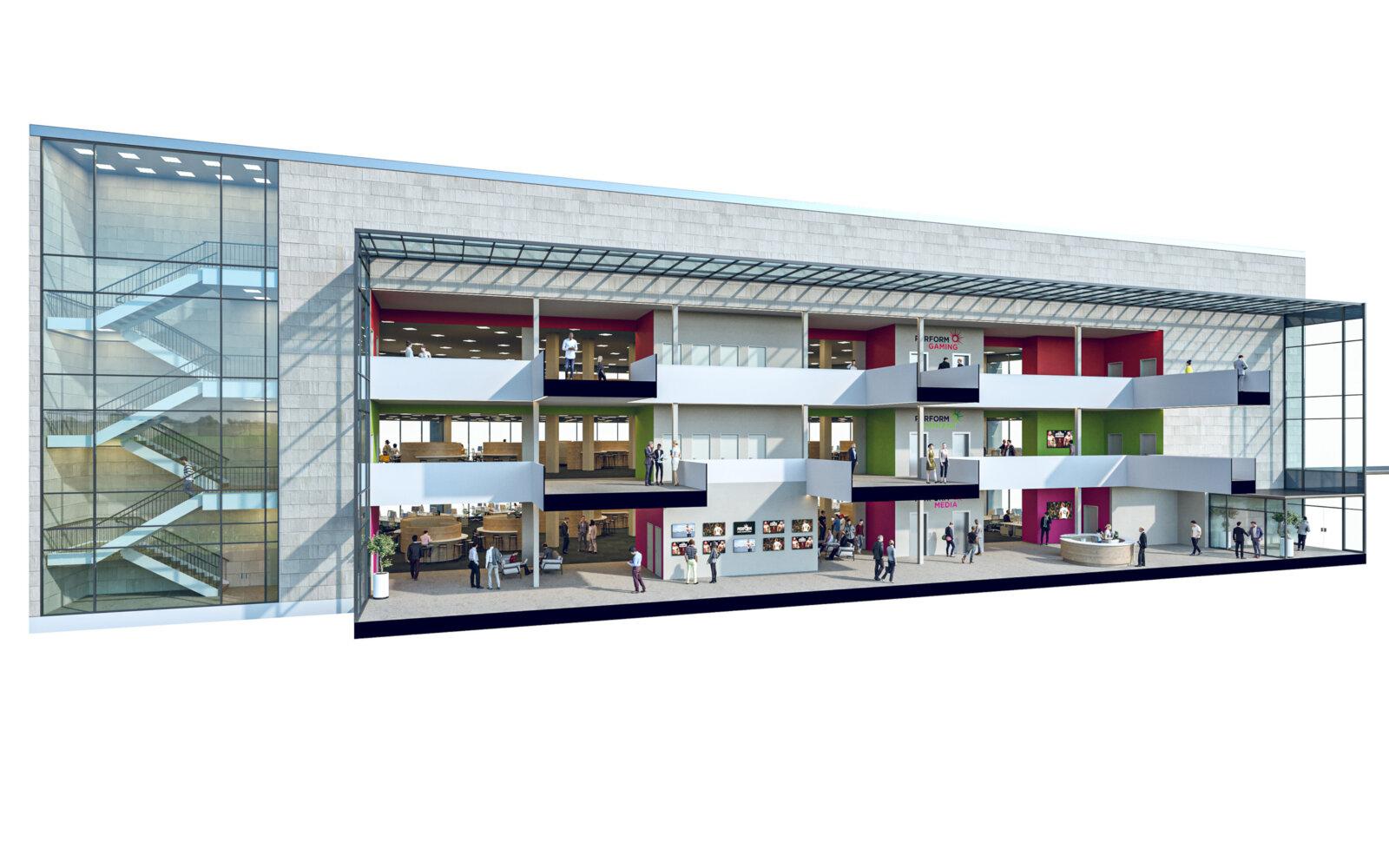 Office Building Extension Munroe K Ltd White Rose Office Park section diagram