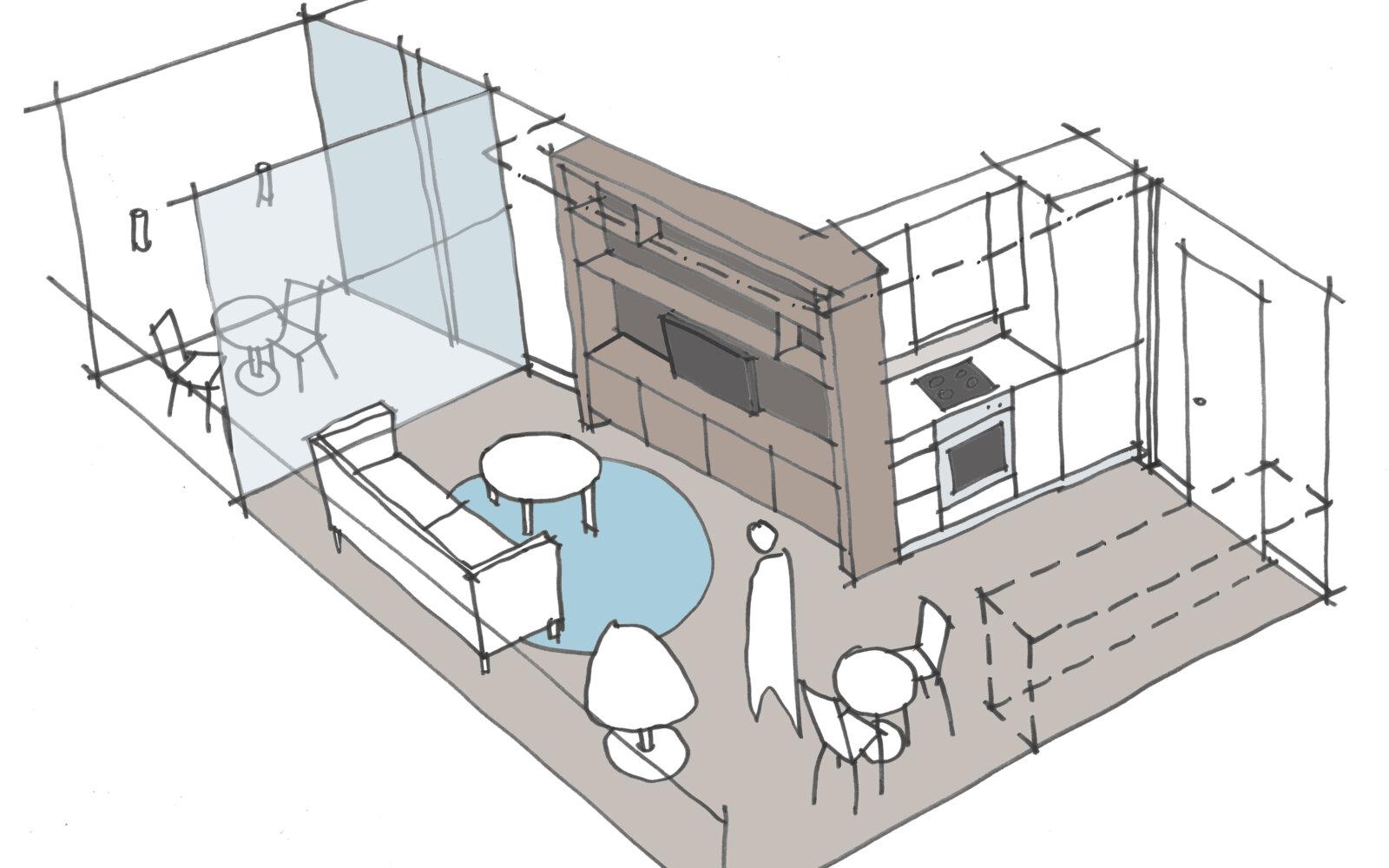Compact Apartments interior sketch