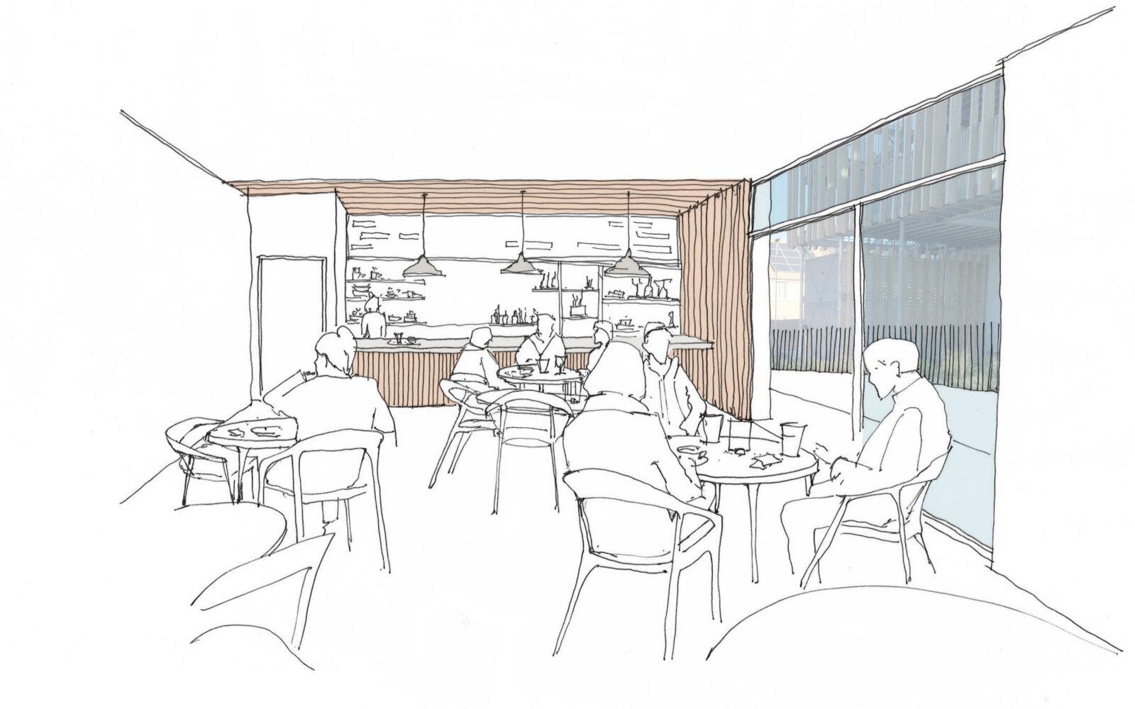 Elmsbrook Local Centre cafe sketch