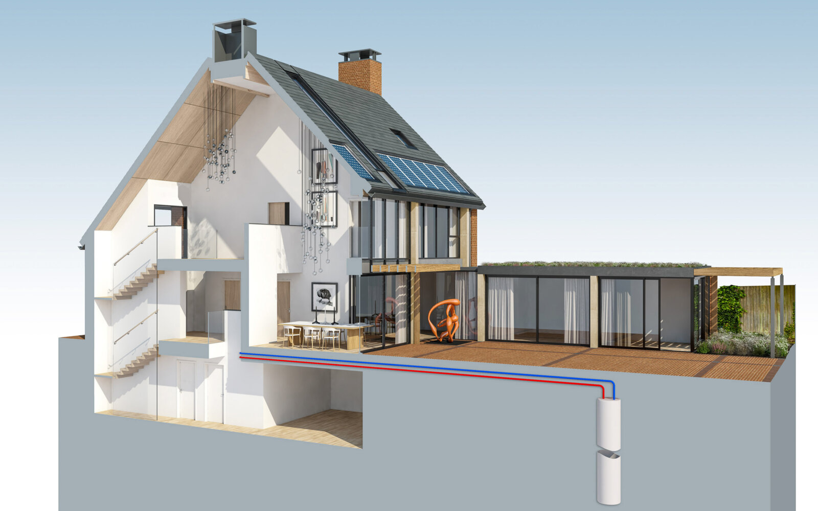 Private house section diagram CGI