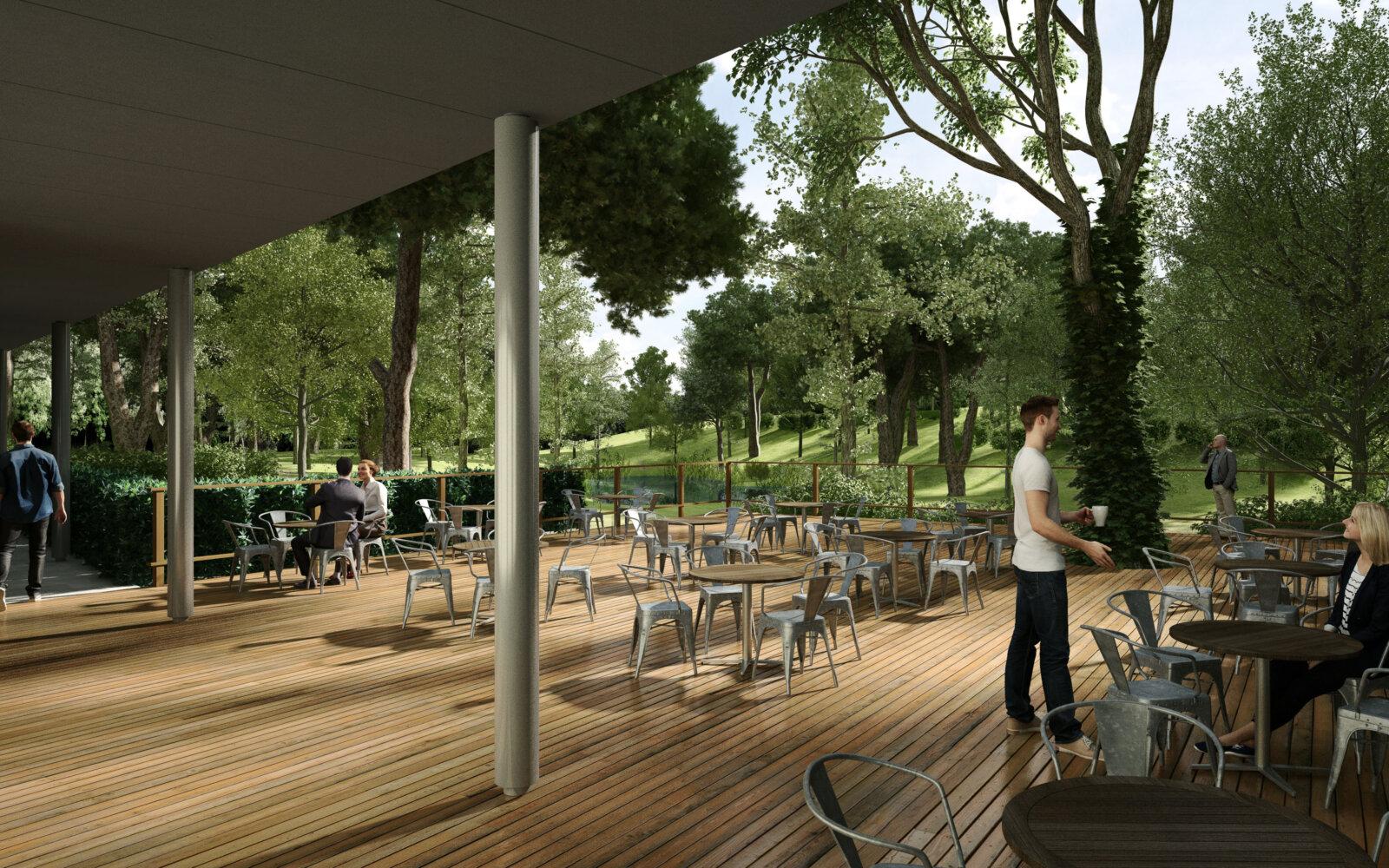 Stansfeld Park decked cafe area