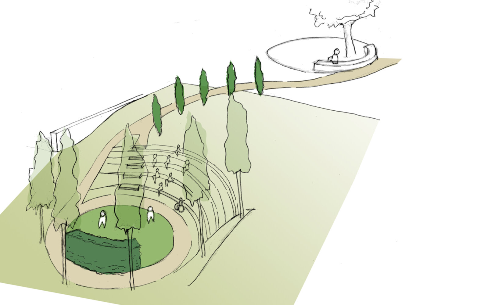 The Ruddock Performing Arts Centre landscape sketch