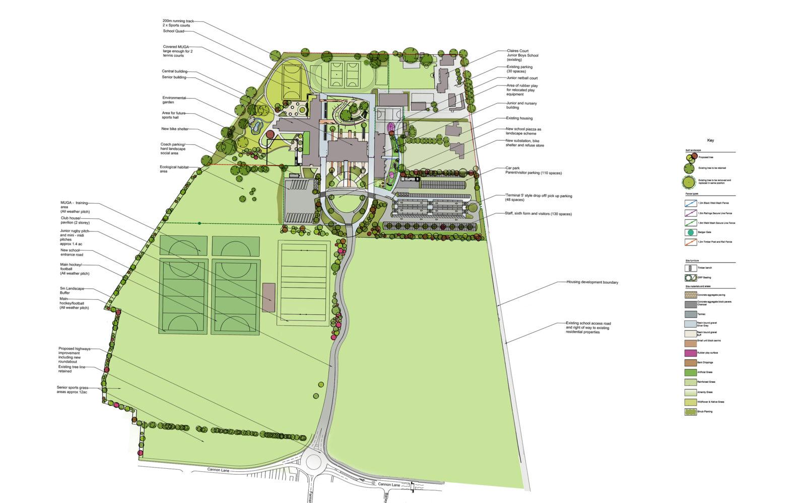 Claires Court School site layout