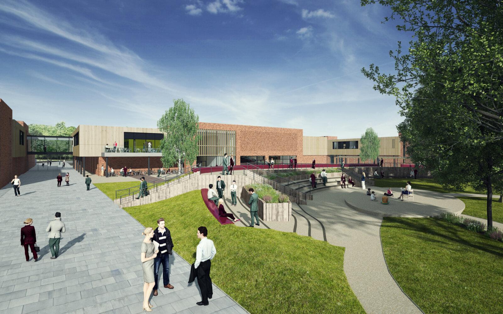 Claires Court School entrance CGI