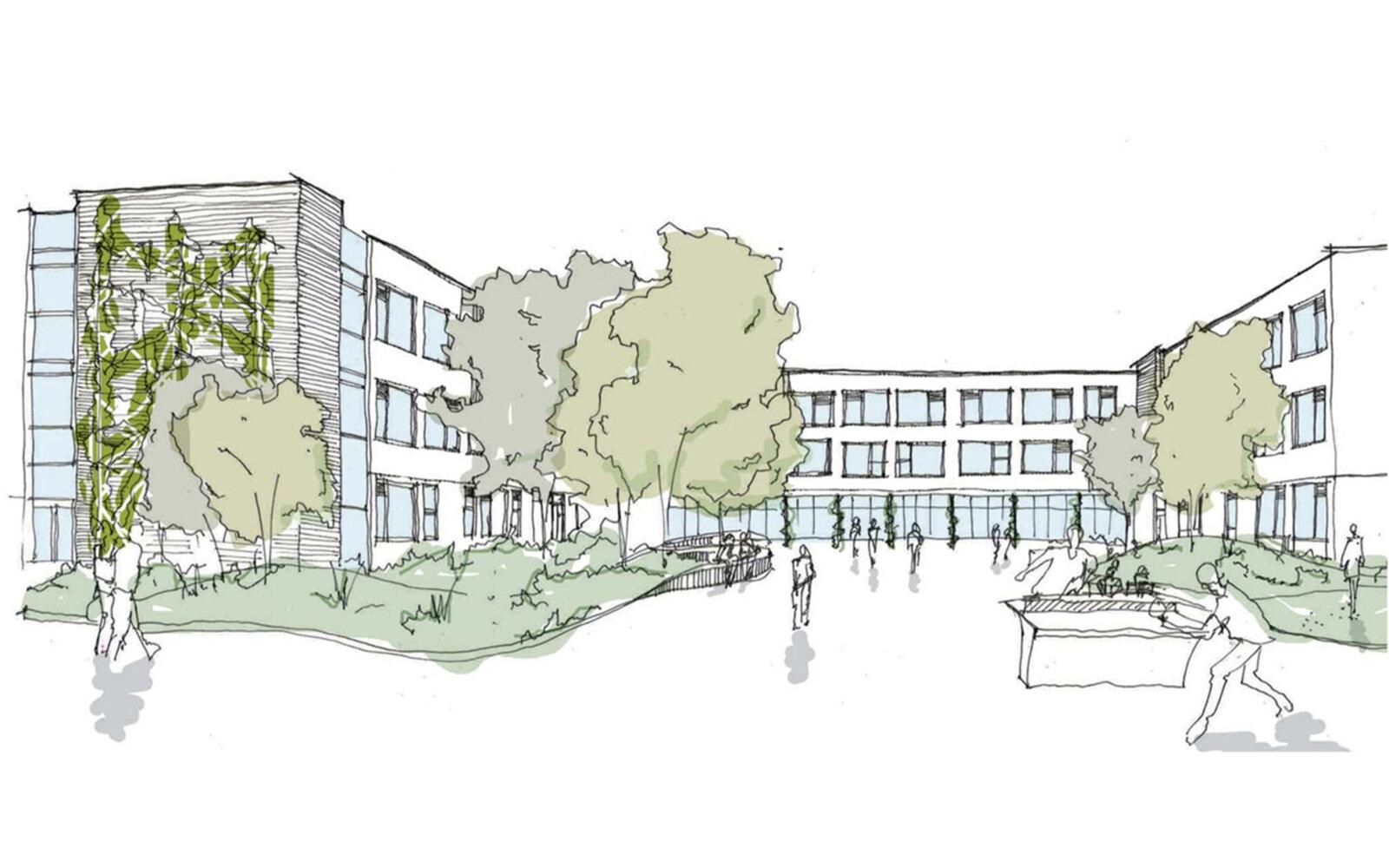 Swan School courtyard