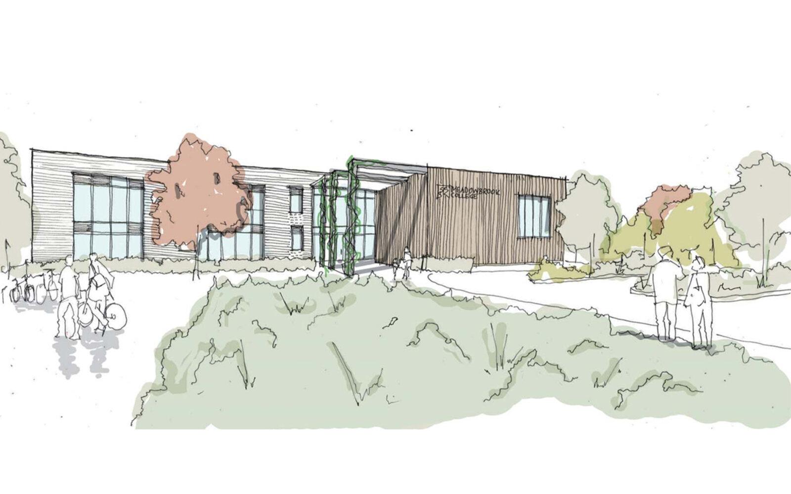 Meadowbrook School entrance sketch