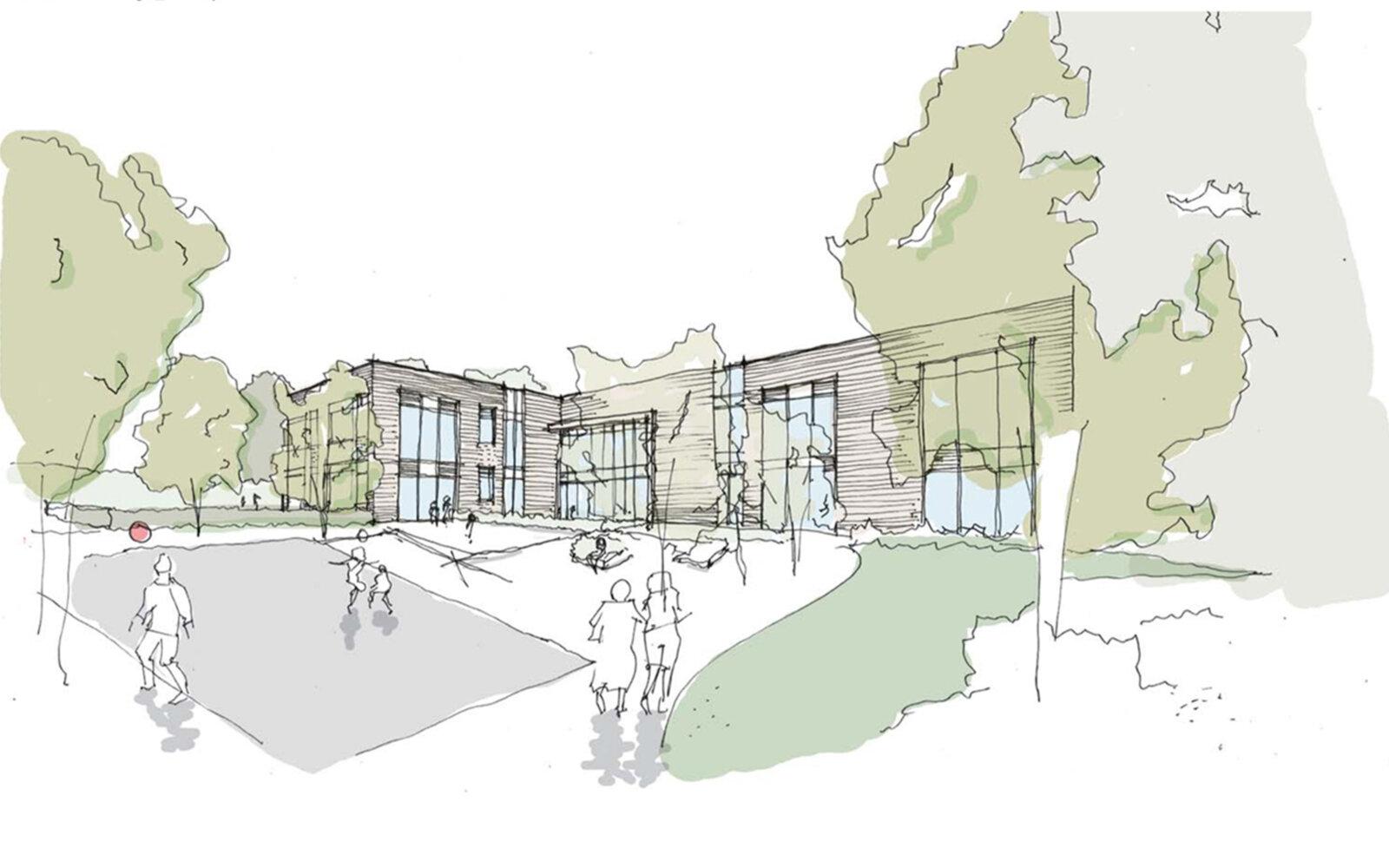 Meadowbrook School courtyard sketch