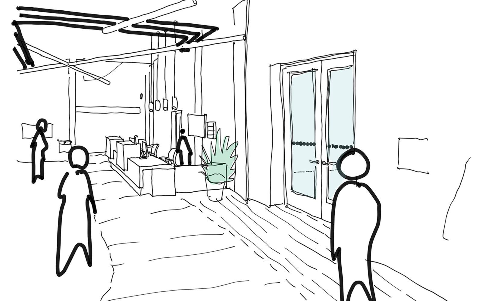 The Forum interior sketch