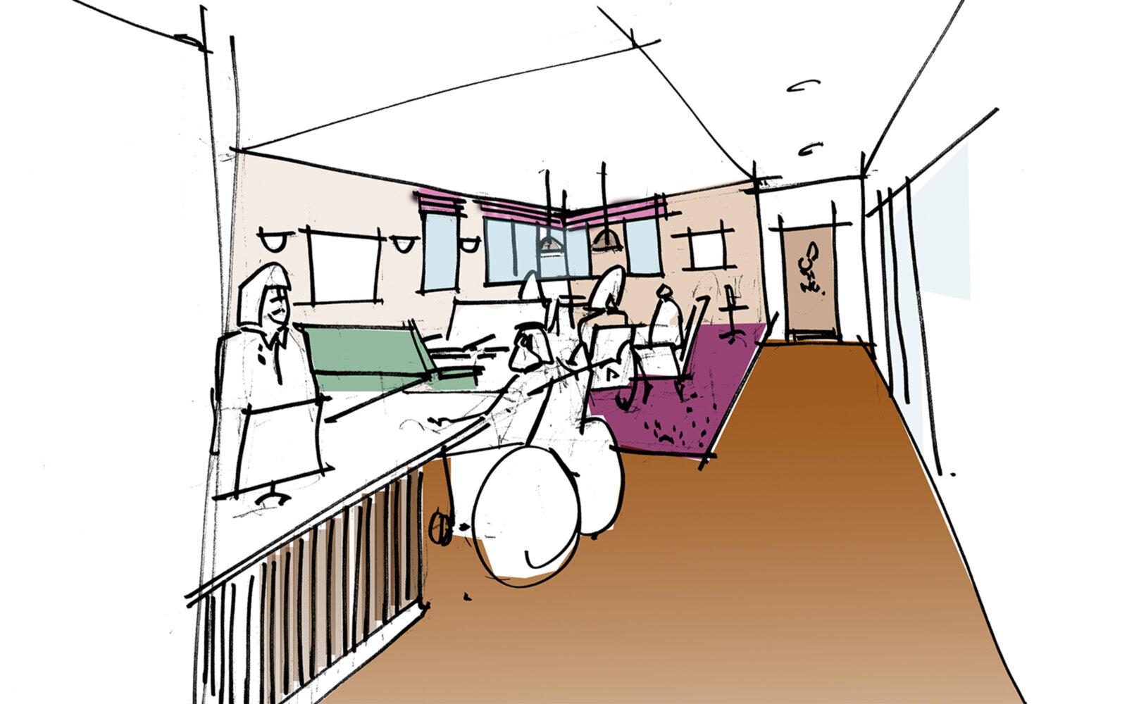Salford Royal Hospital interior sketch