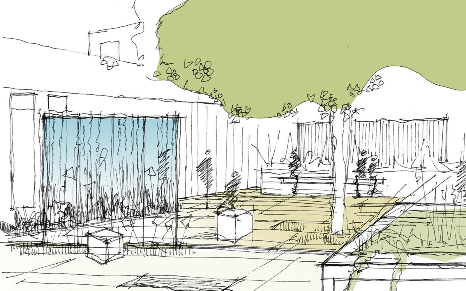 Delamere Support and Information Centre landscape sketch