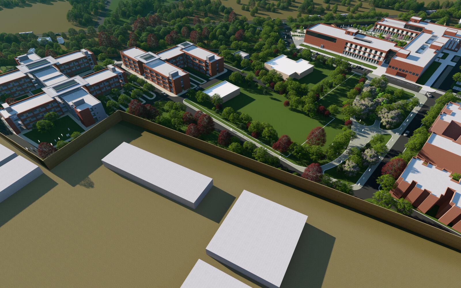 Regional Institute of Allied Health Sciences India aerial CGI