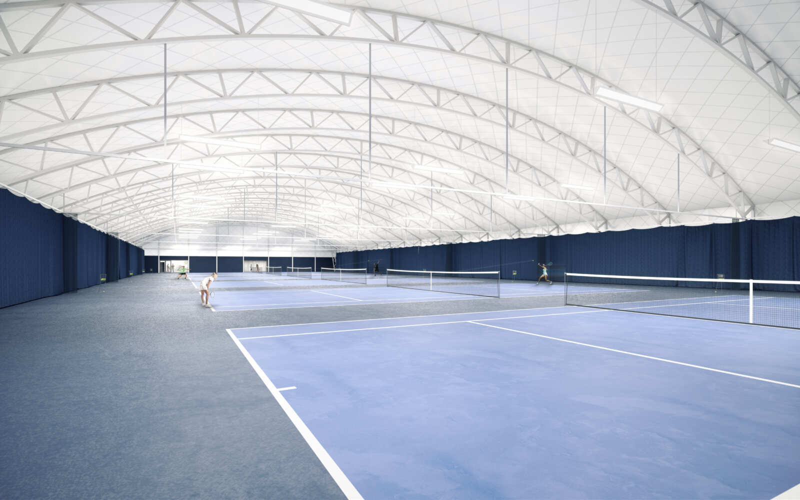 Interior of Oriam Indoor Tennis Centre