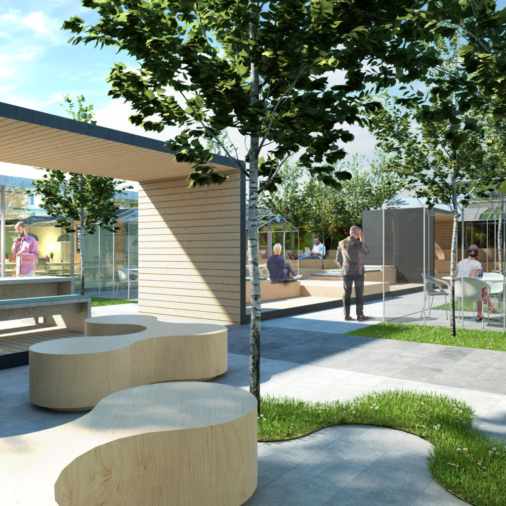 CGI of outdoor space with trees, curved benches and wooden shade areas