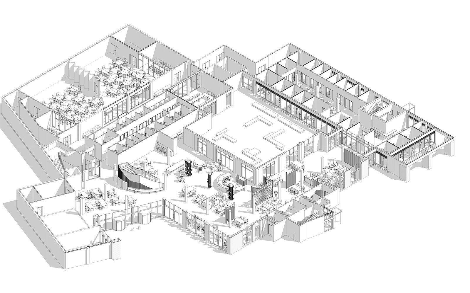 Axonometric view of the ground floor of the student centre