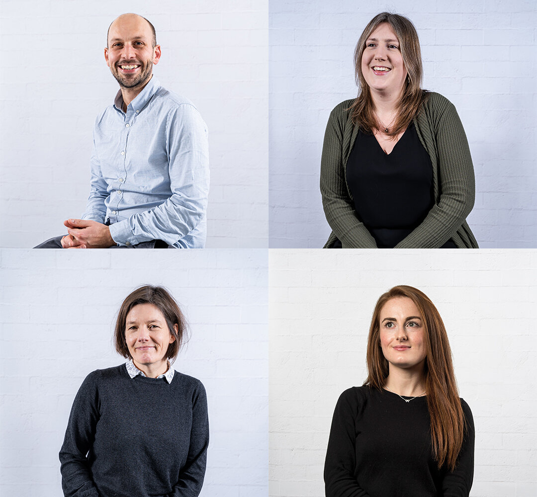 Collage of four people against a light background