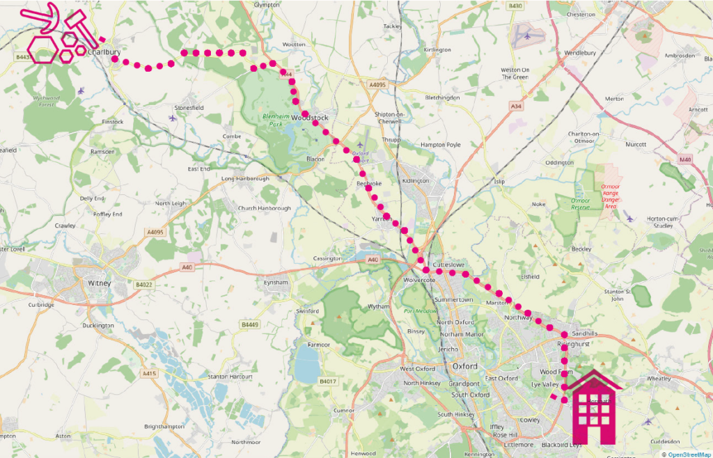 Map showing route from Charlbury to south-east Oxford